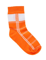 Orange knitted sock