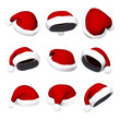 Set of Santa hats isolated on white 3d
