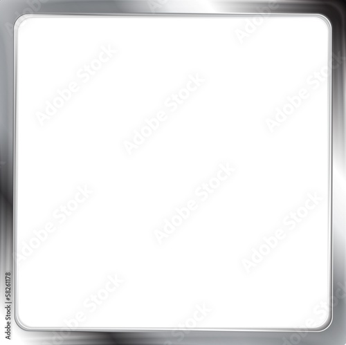 Abstract metallic silver vector frame