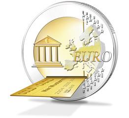 Euromünze mit Kreditkarte