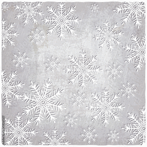 Vintage background with cutout paper snowflakes