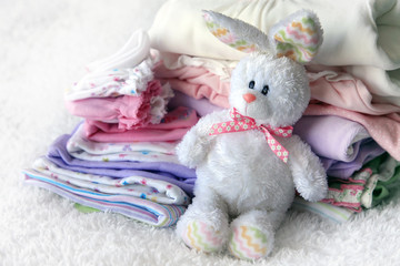 Pile of baby clothes
