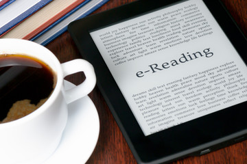 e-Reader and coffee on a table