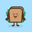 Sandwich character standing and smiling