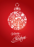 merry christmas greeting card with ball