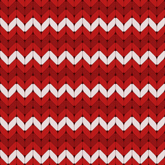 Seamless red and white knitted vector pattern.