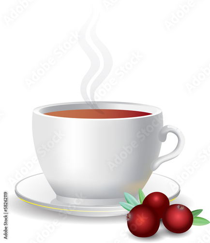 white mug of tea, cranberries