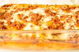 Original italian lasagne on baking dish