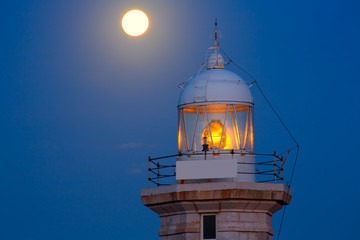 Ciutadella Menorca Punta Nati lighthouse moon shine