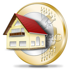 Haus mit Euromünze. Hausfinanzierung, Fördermittel