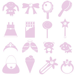 Toys for girl icon on white background