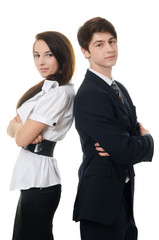 The businessman and businesswoman isolated