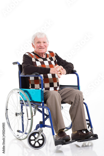 senior man sitting on a wheelchair