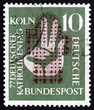Postage stamp Germany 1956 Plan of Cologne Cathedral and Hand