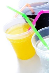assorted soda drinks on white background