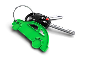 Key with green car keyring