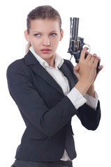 Woman businesswoman with gun on white