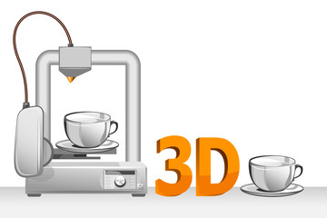 3d printer and white cup. Vector illustration