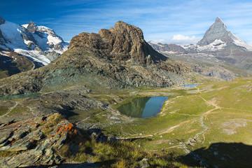 Panaroma in Swiss Alps with Rifelsee and Matterhorn, Switzerland
