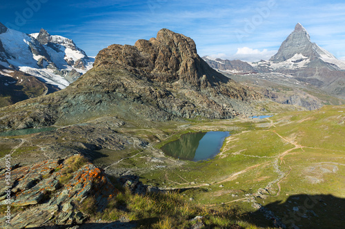 Panaroma in Swiss Alps with Rifelsee and Matterhorn, Switzerland