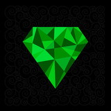 Big green polygonal diamond on the black background.