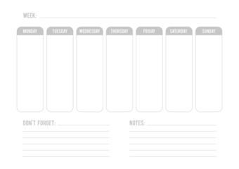 Grey weekly planner