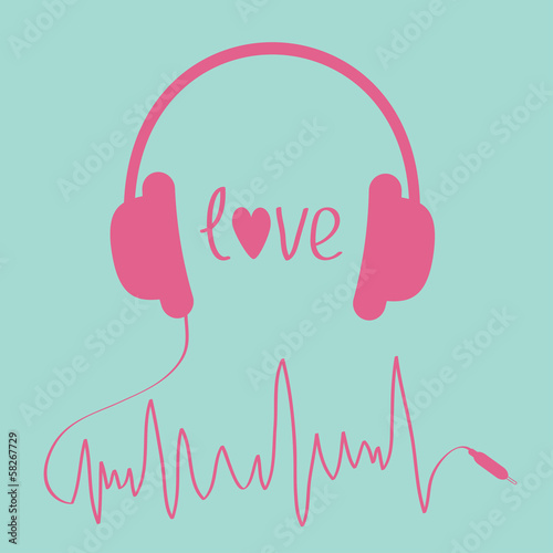 Pink headphones with cord  in shape of cardiogram. Love card.