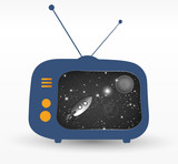 tv with retro rocket