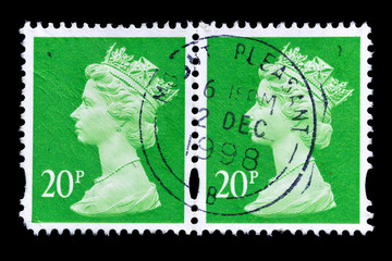 Postage stamps with Portrait of Queen Elizabeth, circa 1998