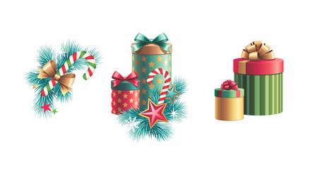 Christmas decoration design elements set