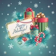 Christmas gift boxes, happy holidays greeting text