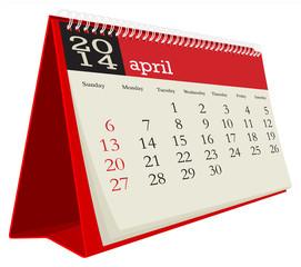 desk calendar 2014 april