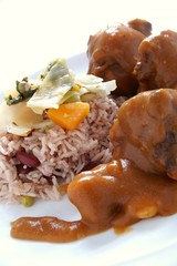 Caribbean Curried Oxtail with peas rice
