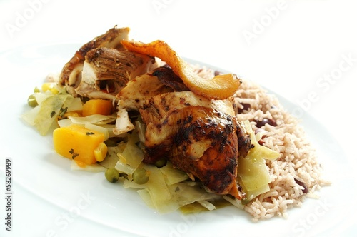 caribbean jerk chicken with peas rice