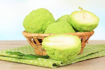 Osage Orange fruits (Maclura pomifera) in basket,