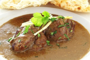 Indian Lamb Nihari Curry with naan bread