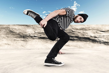 Street dancing man urban fashion with beard. Wearing black woole