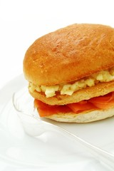 smoked salmon and scrambled egg brioche bun