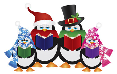 Penguins Christmas Carolers Vector Illustration