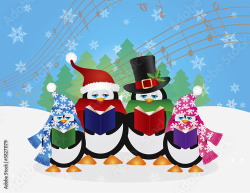 Penguins Christmas Carolers Snow Scene Vector Illustration