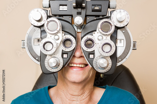 Happy Woman Having An Eye Test