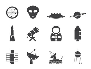 Silhouette Astronautics and Space Icons - Vector Icon Set