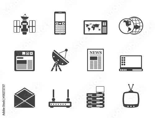 Silhouette Communication and Business Icons - Vector Icon Set