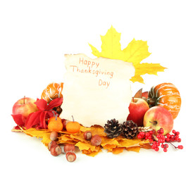 Beautiful autumn Thanksgiving Day composition, isolated on