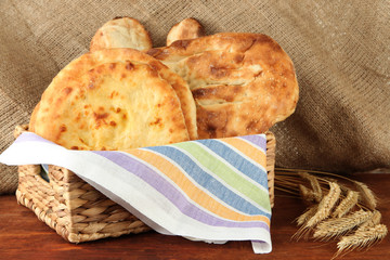 Pita breads in basket with spikes