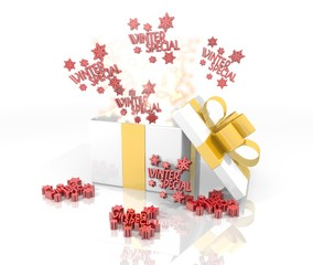 christmas present with winter special symbol