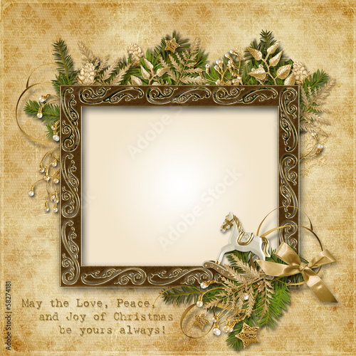 Christmas card with golden garland, frame and warm wishes