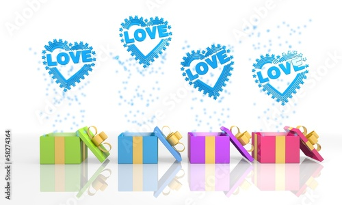 happy present boxes with heart with stars icon