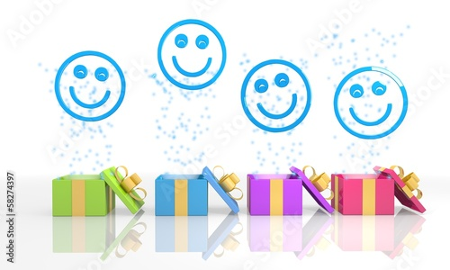 happy present boxes with smile symbol