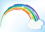 Fototapety Rainbow with cloud - vector background